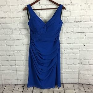 Bill Levkoff Chiffon Royal Blue Bridesmaid Dress